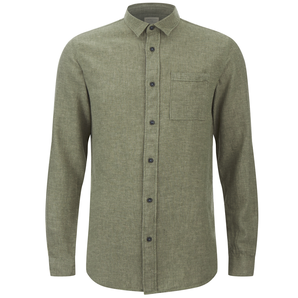 selected-homme-men-none-trent-solid-long-sleeve-shirt-olive-night-melange-xxl