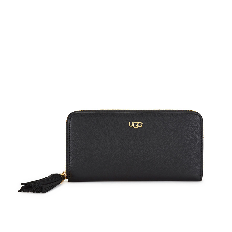 ugg womens rae leather zip around wallet black