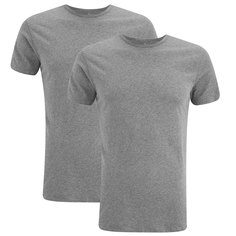 Puma Men 39 S 2 Pack Crew Neck T Shirts Grey Clothing Zavvi