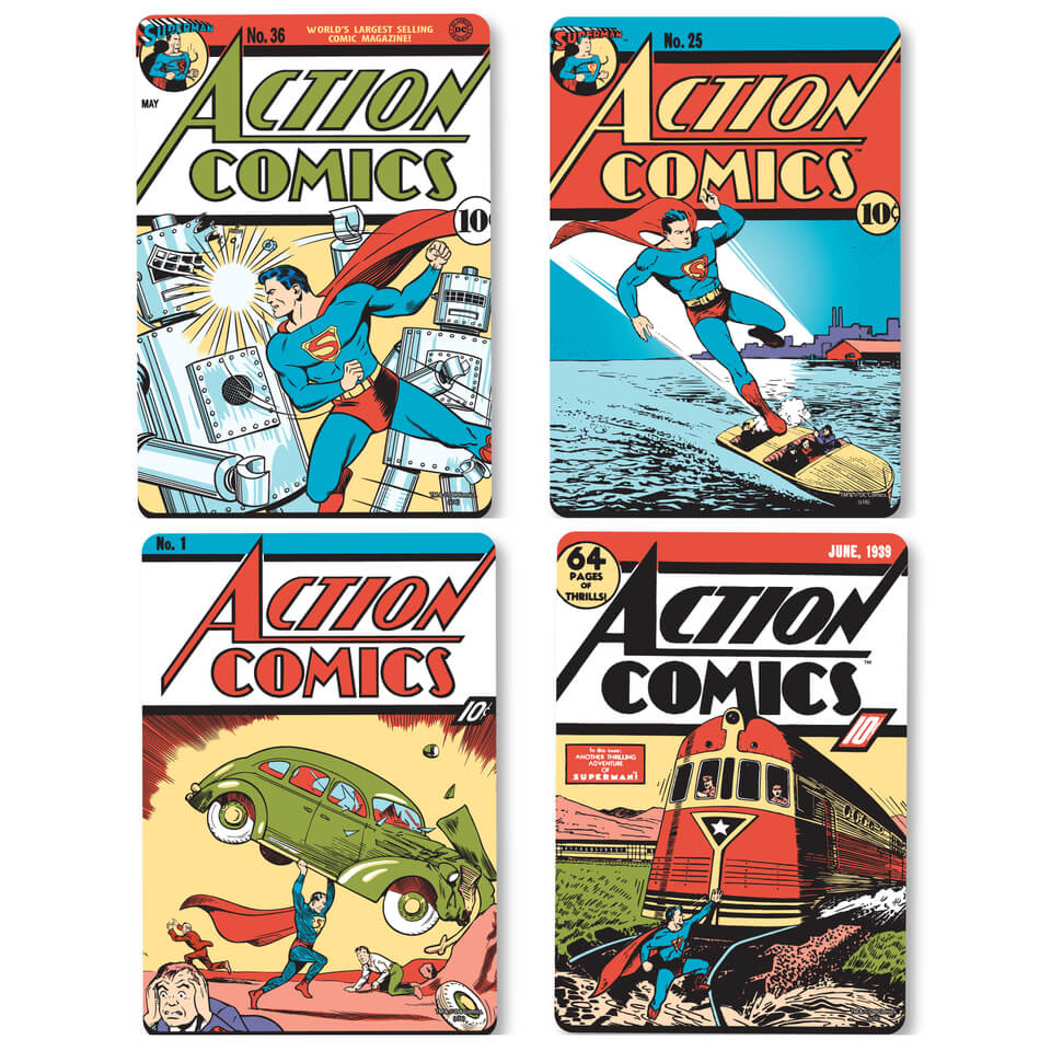 DC Comics Superman Comic Covers Set of 4 Coasters