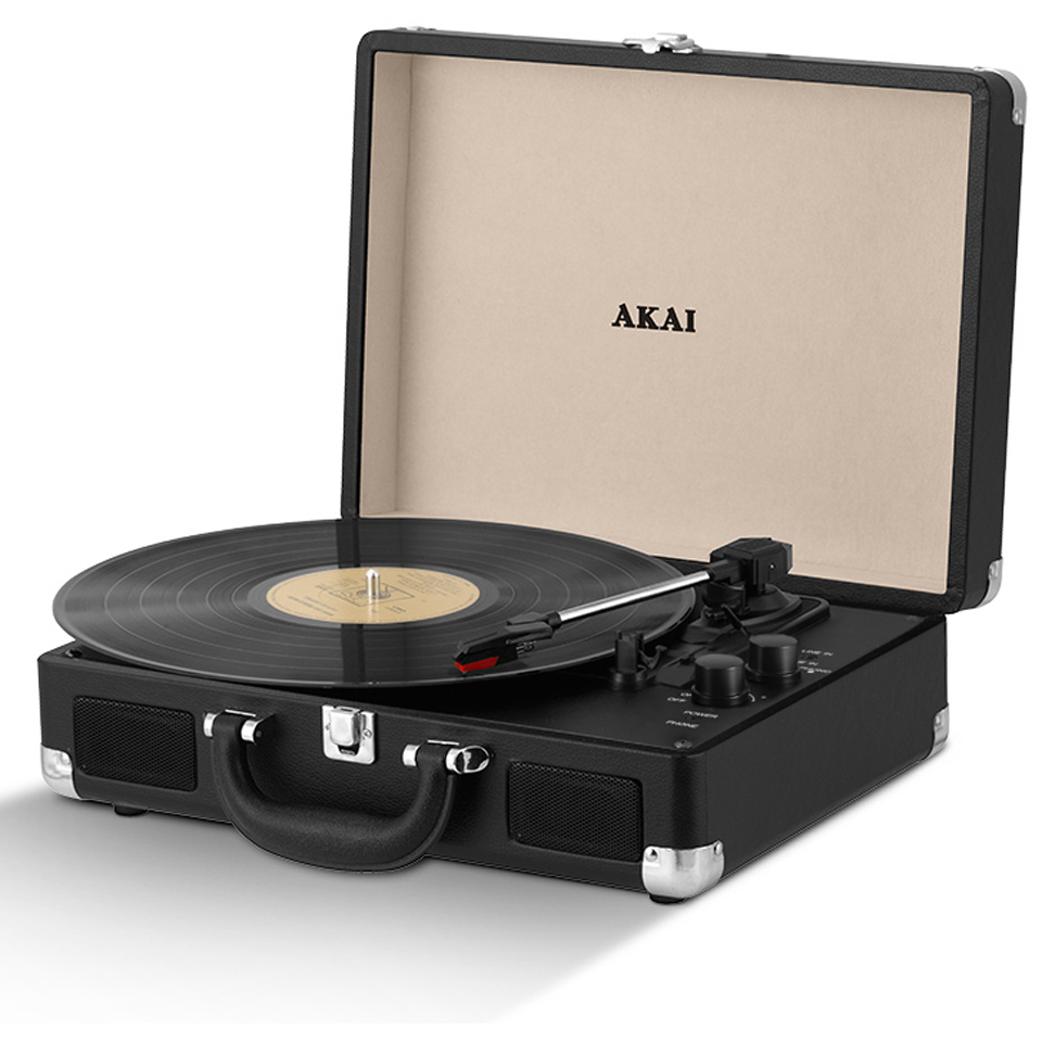 Akai Rechargeable Portable Briefcase Turntable with Built In Speaker Black