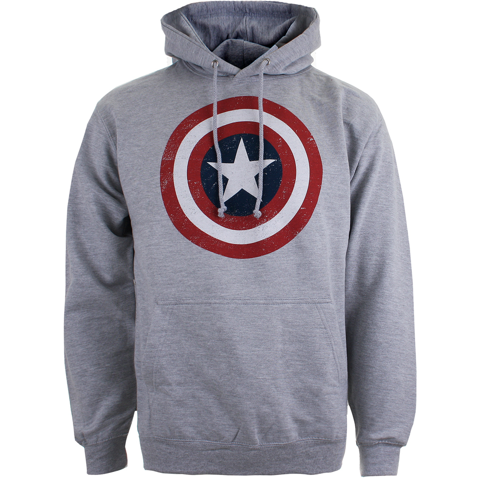 Marvel Men's Captain America Sheild Hoody Light Grey Marl S Grau