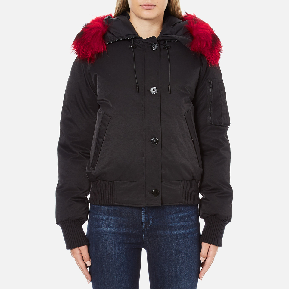 Kenzo Womens Removable Red Fur Lined Short Parka Black L