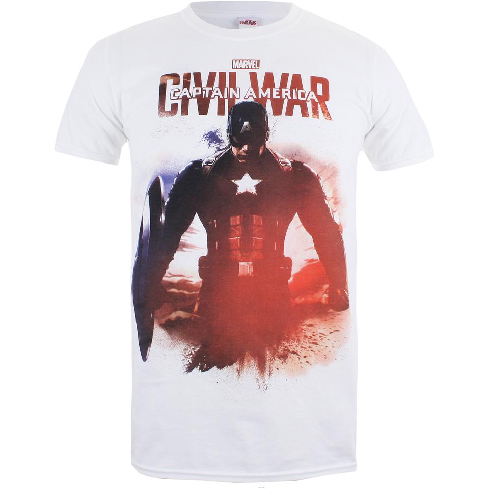 Marvel Herren Captain America Civil War Stance T Shirt Weiss L Weiß