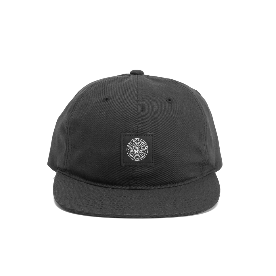 OBEY Clothing Men s Worldwide Seal 6 Panel Hat - Black - Free UK Delivery  over £50 d86767dfc438
