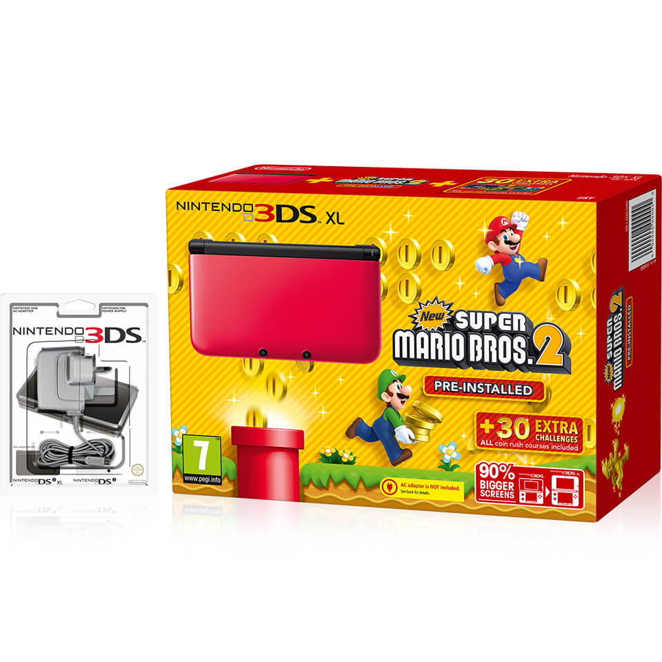 Nintendo 3DS XL Red/Black + New Super Mario Bros  2