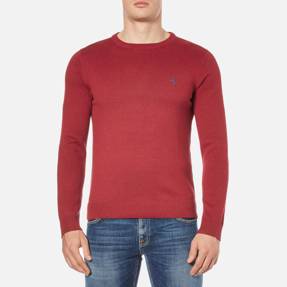 gant-men-contrast-cotton-crew-neck-knitted-jumper-bordeaux-melange-xxl