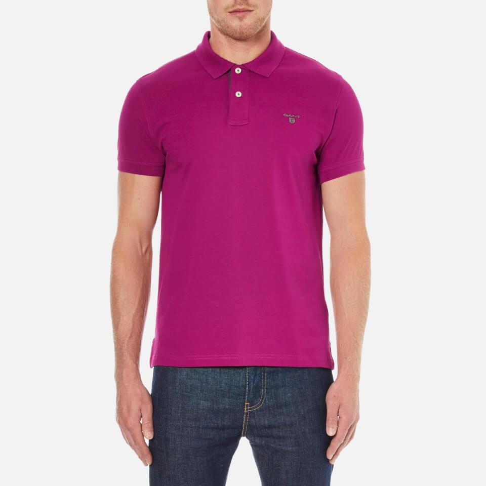 GANT Men's Contrast Collar Pique Polo Shirt - Raspberry Purple - XL