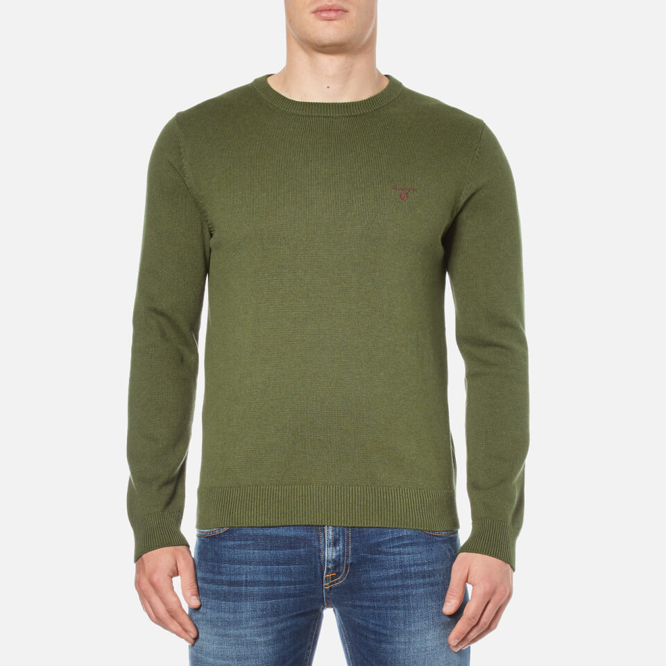 gant-men-contrast-cotton-crew-neck-knitted-jumper-forest-green-melange-s