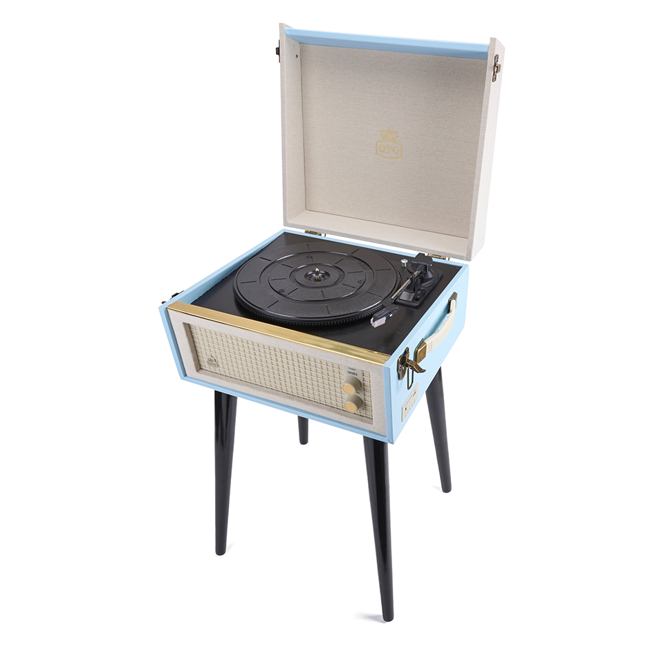GPO Retro Bermuda Classic Style Turntable with MP3, USB, Built In Speakers and Removable Legs Blue Cream