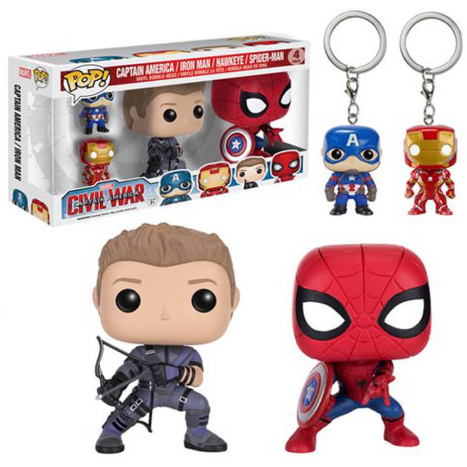 Captain America Civil War 4er Pack Funko Pop! Figuren und Schlüsselanhängern