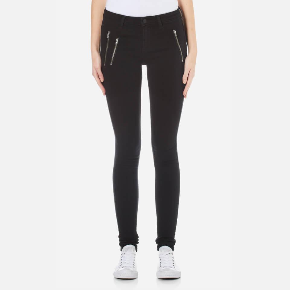 Only Womens Eternal Regular Skinny Zip Jeans Black Xs