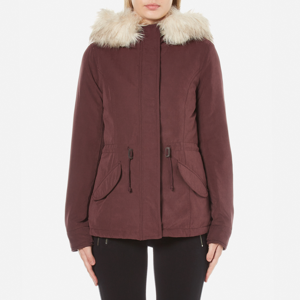 Only Womens Lucca Short Parka Fudge M