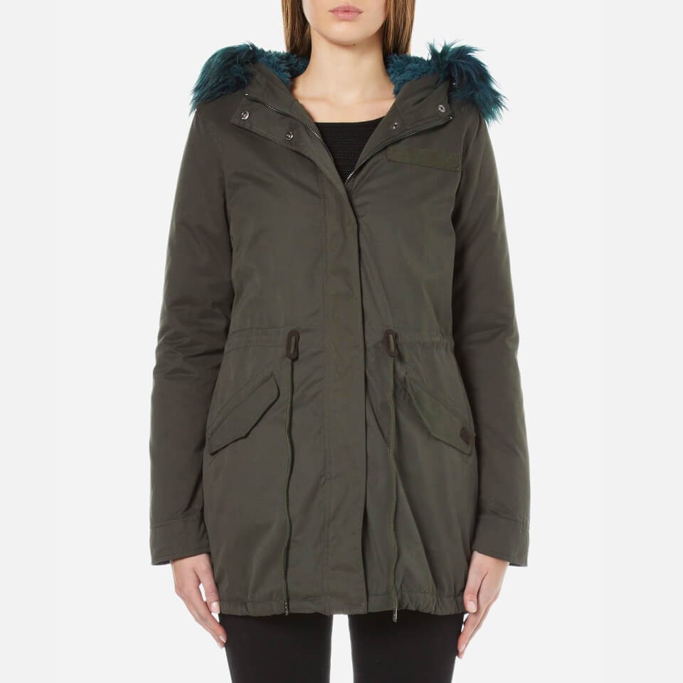 Only Womens Contrast Fur Parka Peat Xs