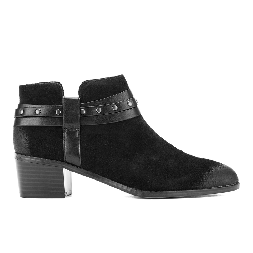 Clarks Women's Breccan Shine Suede Heeled Ankle Boots - Black - UK 7