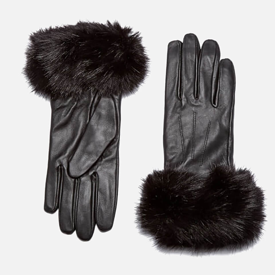 Barbour Womens Faux Fur Trimmed Leather Gloves Black Large