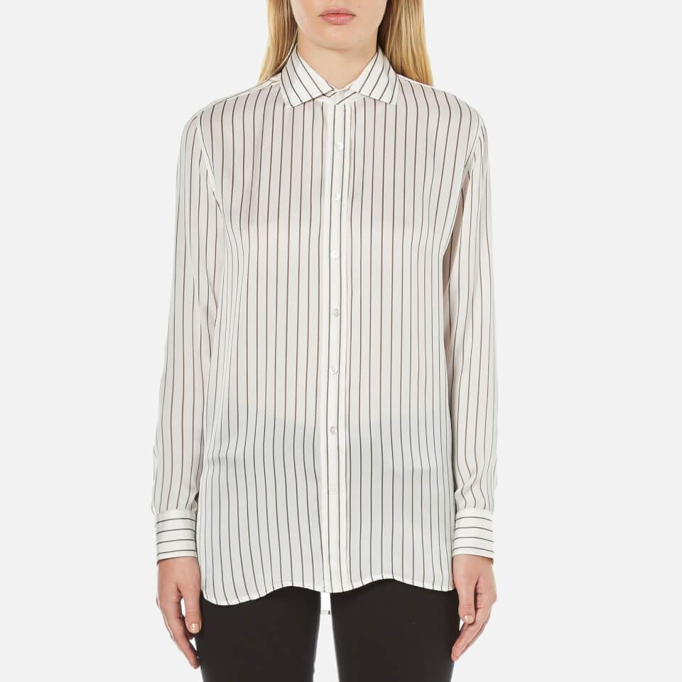 Polo Ralph Lauren Womens Joa Striped Long Sleeve Shirt Oyster/grey Uk 8