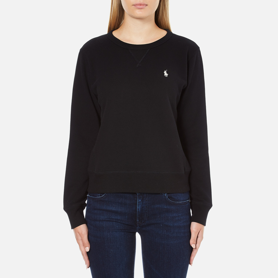 polo ralph lauren women 39 s crew neck logo sweatshirt polo black free uk delivery over 50. Black Bedroom Furniture Sets. Home Design Ideas