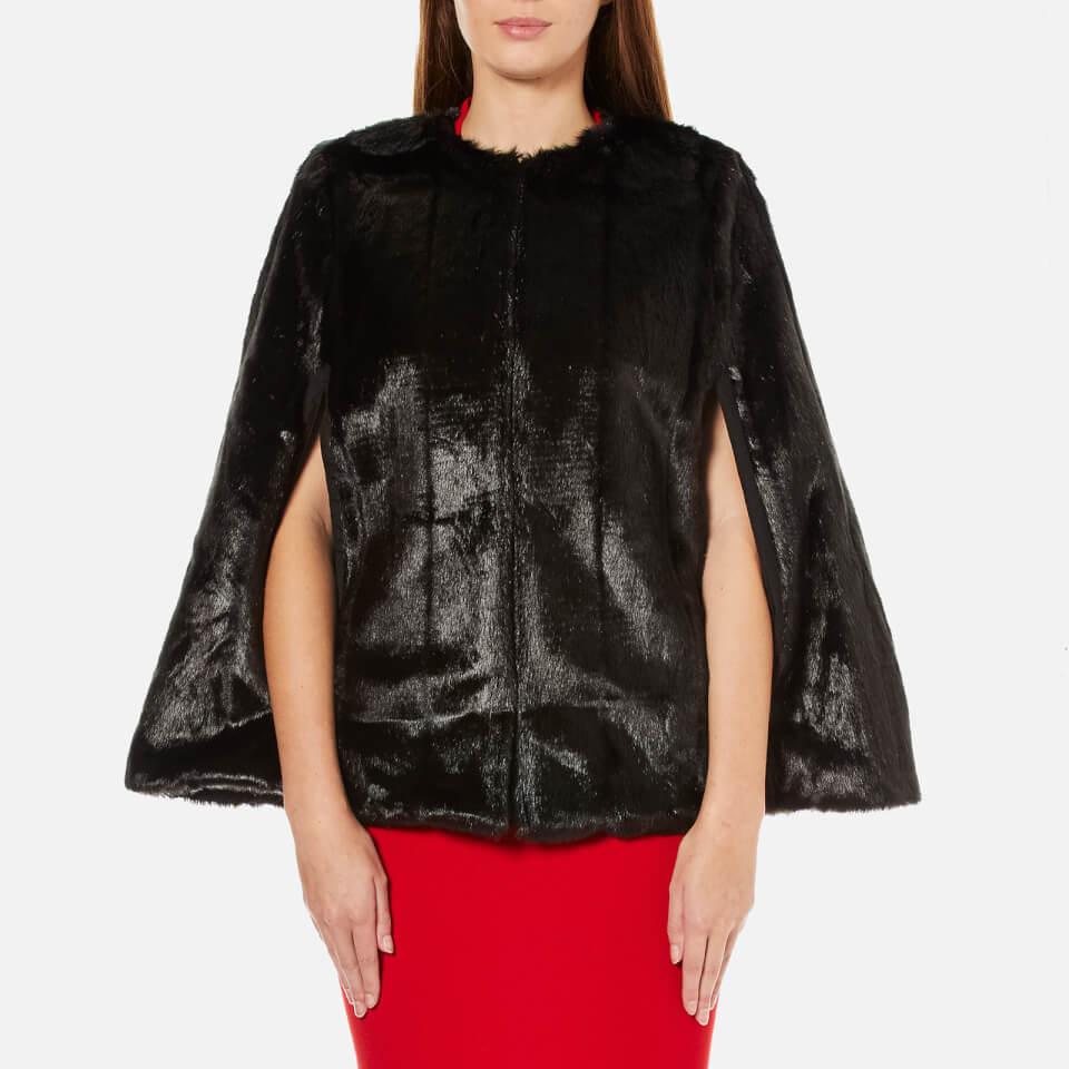 Michael Michael Kors Womens Reversible Faux Fur Cape Black M
