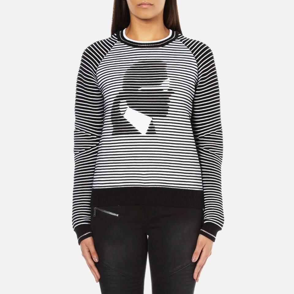 Karl Lagerfeld Womens Karl Head Jacquard Sweatshirt Black/white M