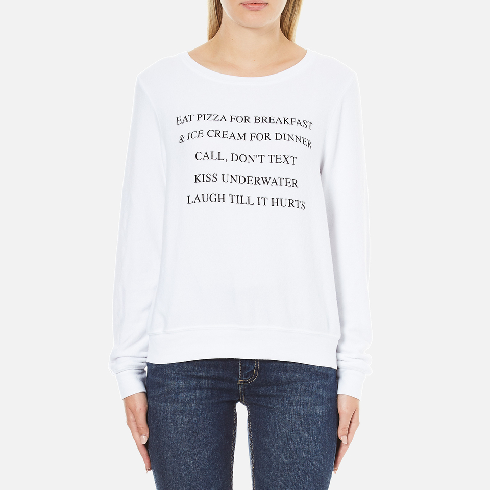 Wildfox Womens Day Off List Baggy Beach Sweatshirt Cleanwhite Xs