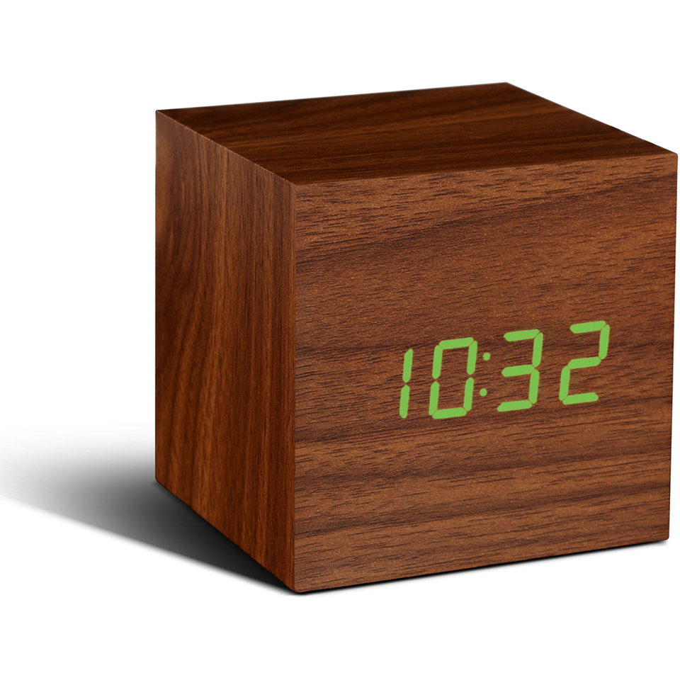 gingko-cube-walnut-click-led-clock-green