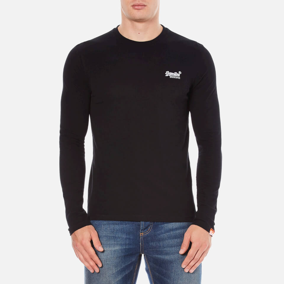 Superdry Men S Orange Label Long Sleeve Top Black Mens