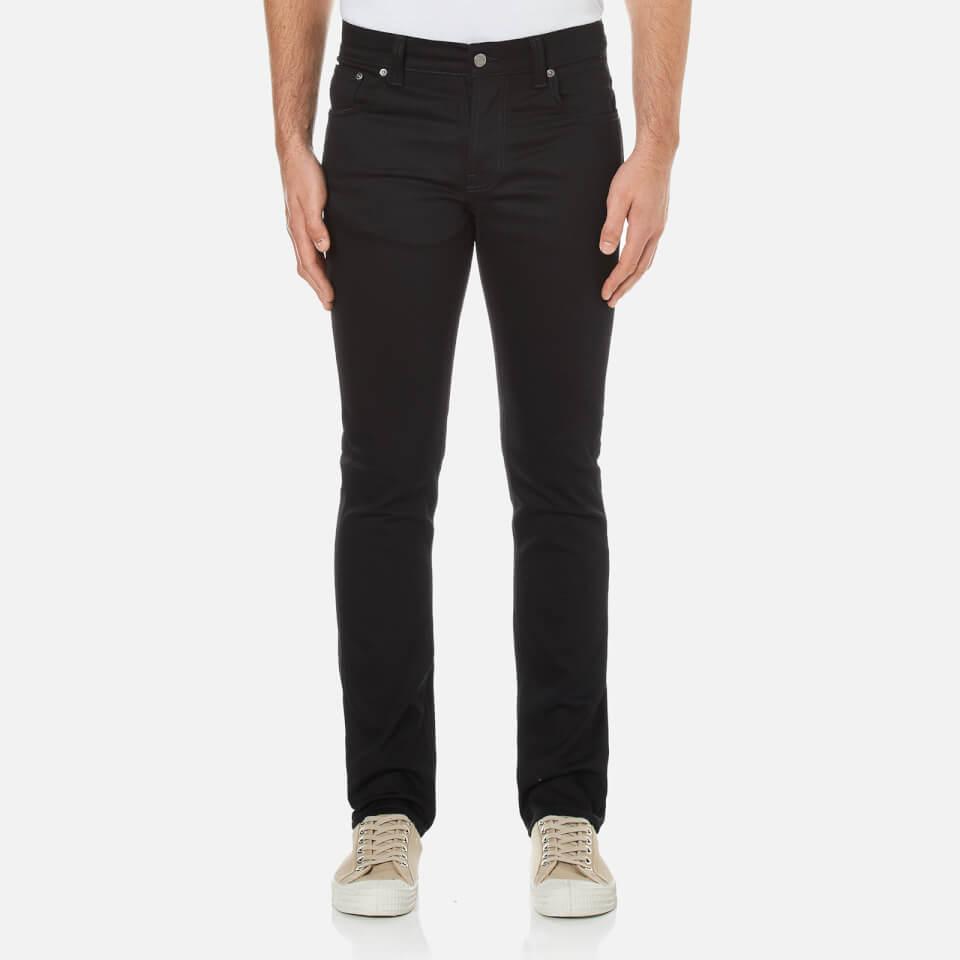 Nudie Jeans Mens Grim Tim Straight/slim Fit Jeans Dry Cold Black W36/l34