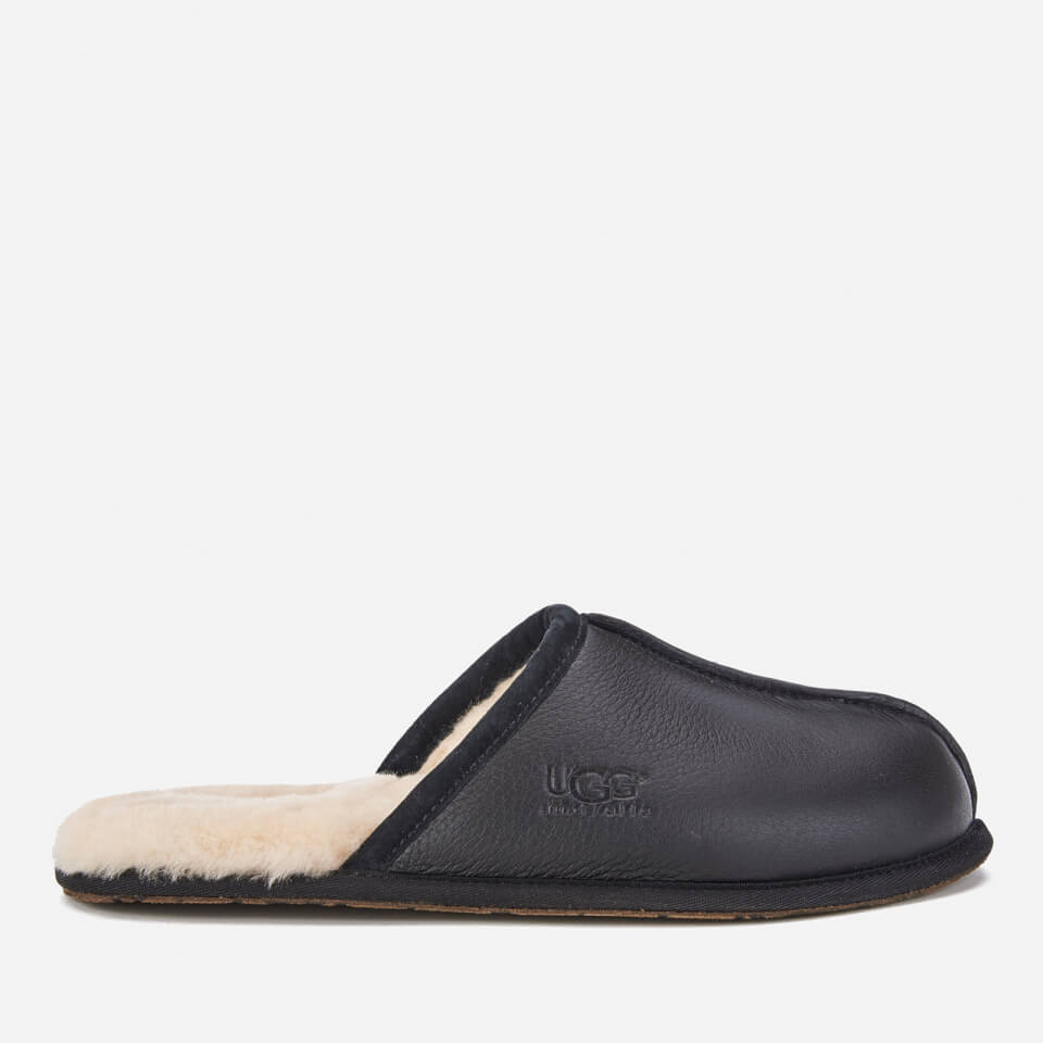 Ugg Mens Scuff Leather Sheepskin Slippers Black Uk 8