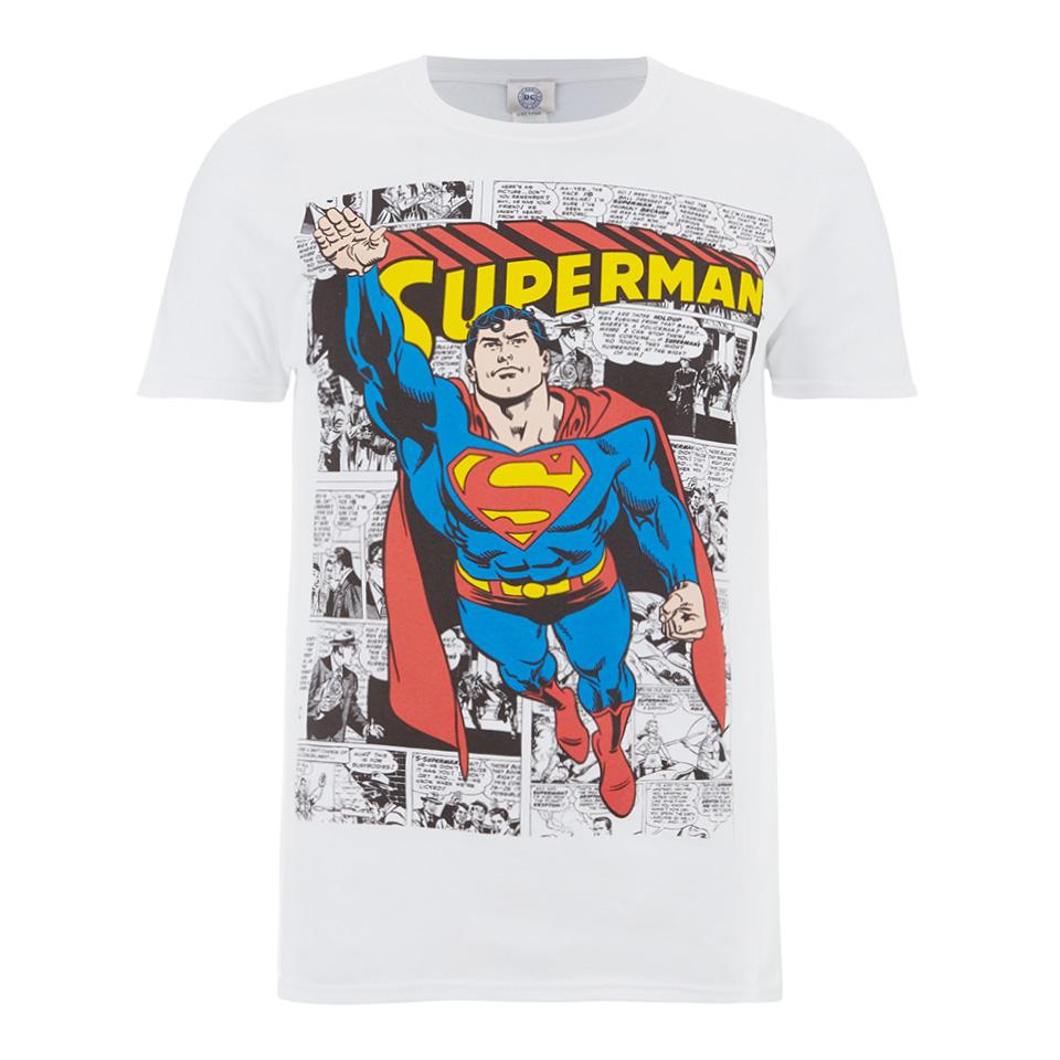 DC Comics Men's Superman Comic Strip T Shirt Weiß XXL Weiß