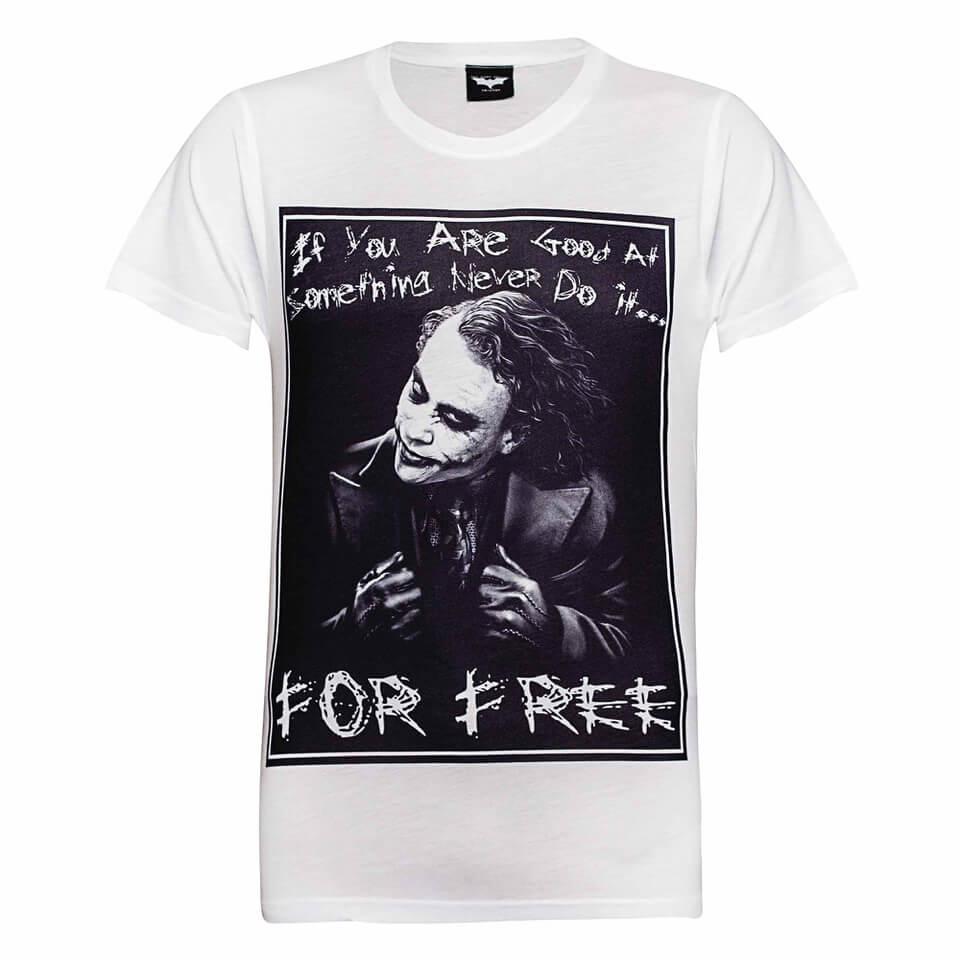 DC Comics Herren Batman The Joker Never for Free T Shirt Weiß XL Weiß