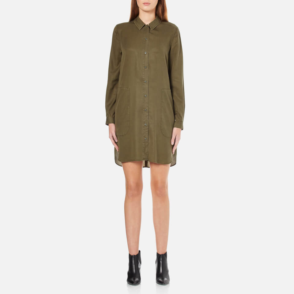 French Connection Womens Military Tencel Shirt Dress Olive Night Uk 8