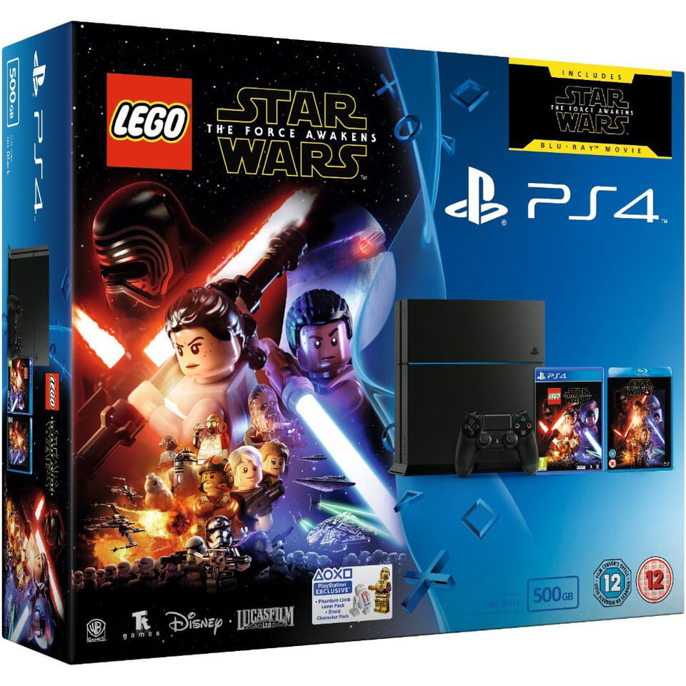 sony-playstation-4-500gb-includes-lego-star-wars-the-force-awakens-star-wars-the-force-awakens-blu-ray
