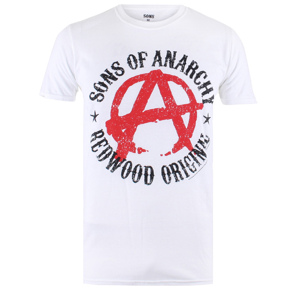 sons of anarchy men 39 s anarchy t shirt white merchandise. Black Bedroom Furniture Sets. Home Design Ideas