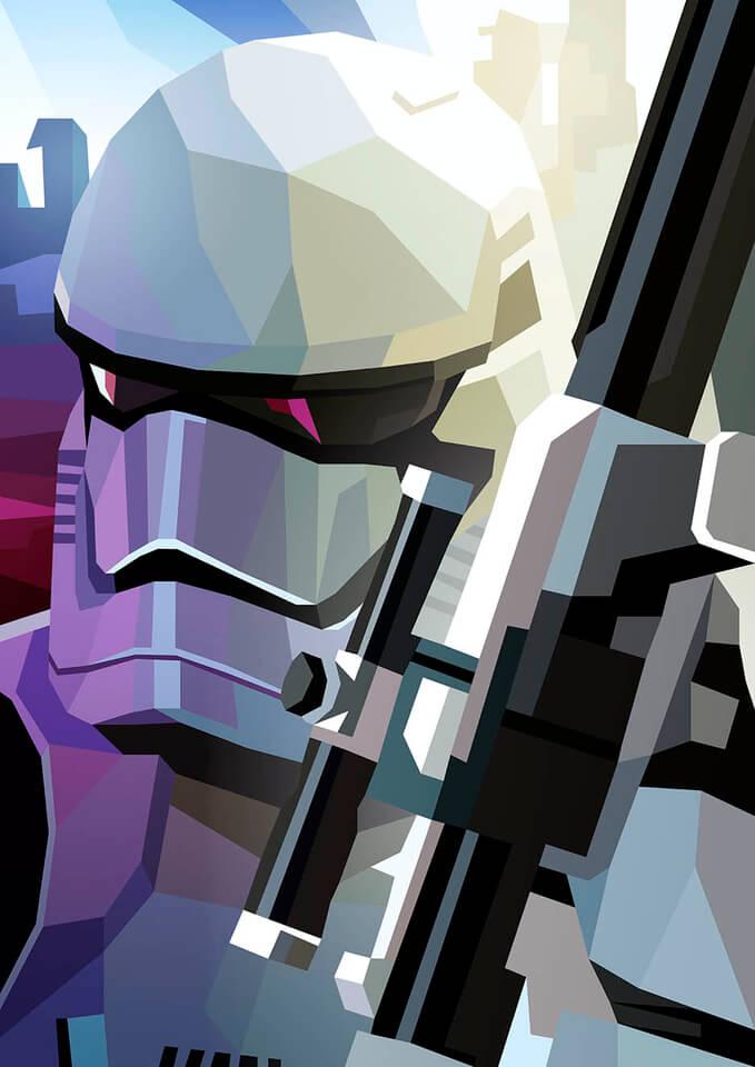 Star Wars First Order Storm Trooper Inspired Illustrative Fine Art Print 16.5 x 11.7