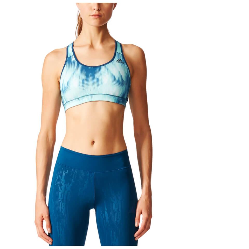 Adidas Womens Print Training Racer Back Bra Light Blue S/ab