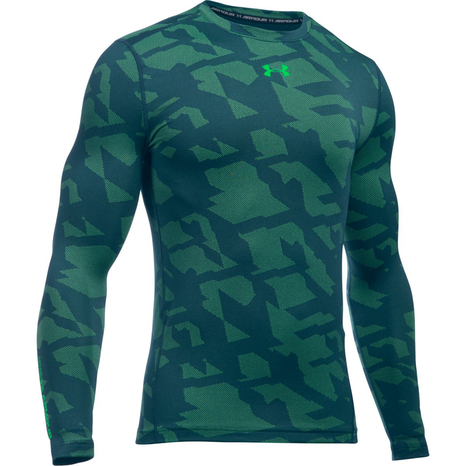 Under armour men 39 s coldgear jacquard crew long sleeve for Teal under armour shirt