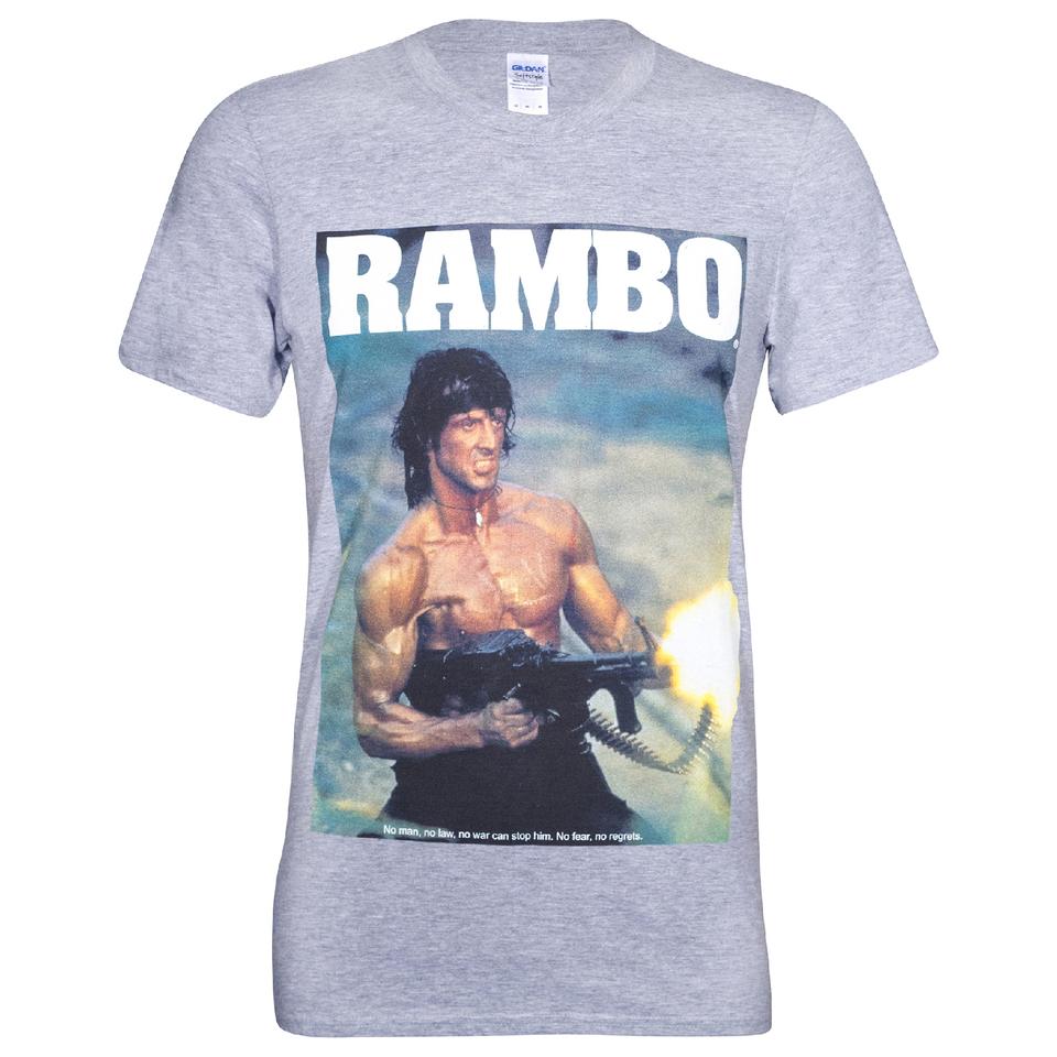 Camiseta Rambo Pistola - Hombre - Gris - L - Gris