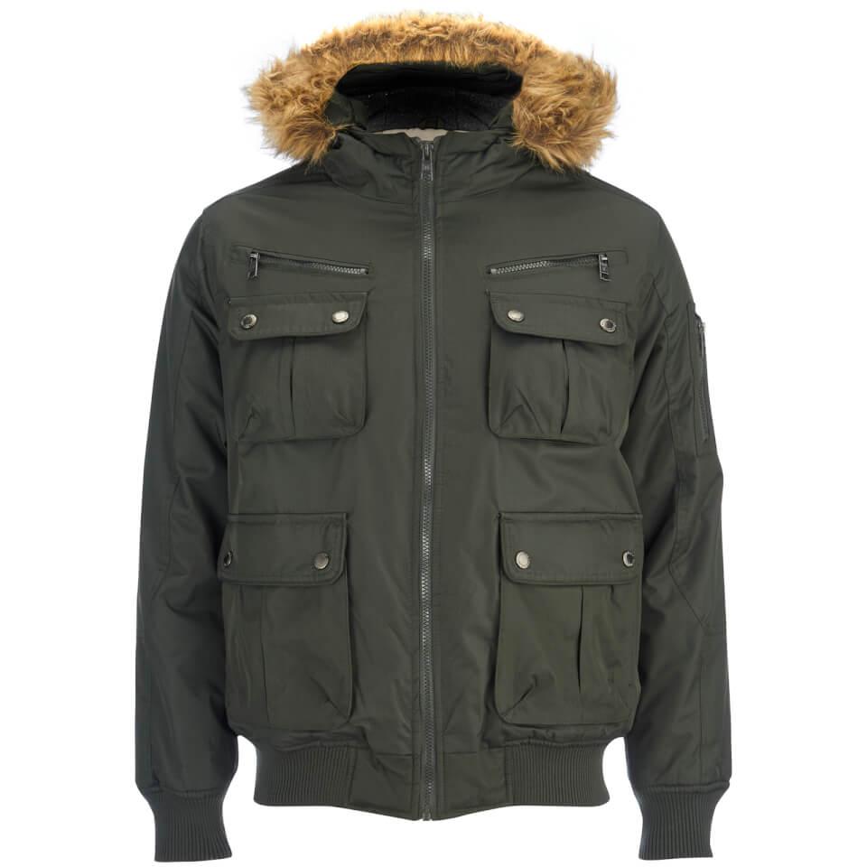 1611c0031 Brave Soul Men's Knight Faux Fur Trim Hooded Bomber Jacket - Dark Olive
