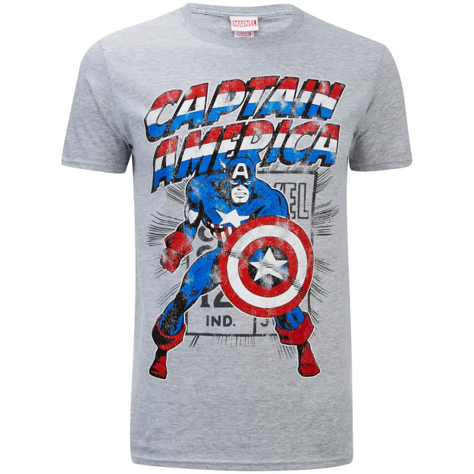 Marvel Herren Captain America Retro T Shirt Sport Grün XL Grün