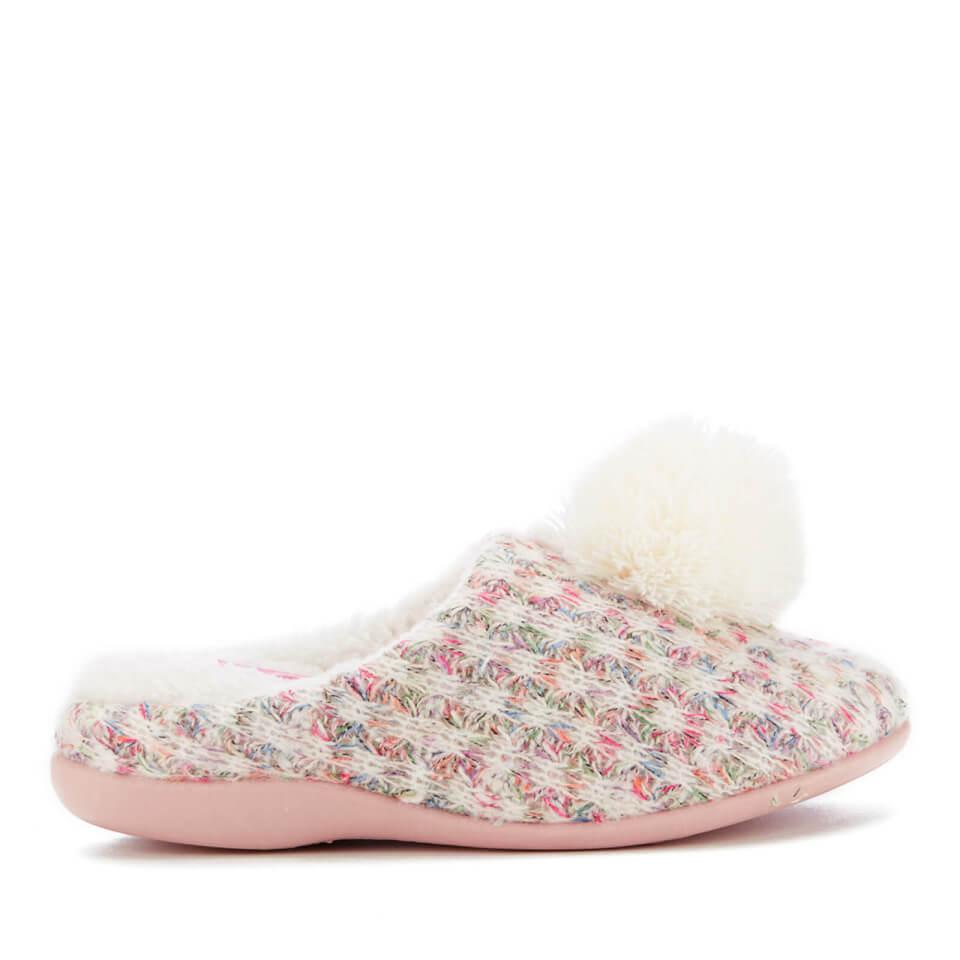 Dunlop Women's Adeline Pom Pom Slippers - Natural - UK 4 - Stone