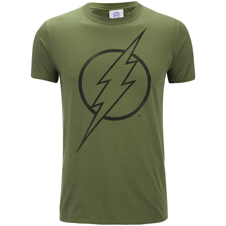 DC Comics Herren The Flash Line Logo T Shirt Militär Grün XL Grün