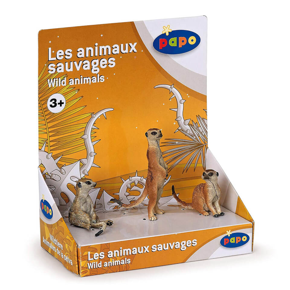 Papo Wild Animal Kingdom: Display Box 3 Meerkats