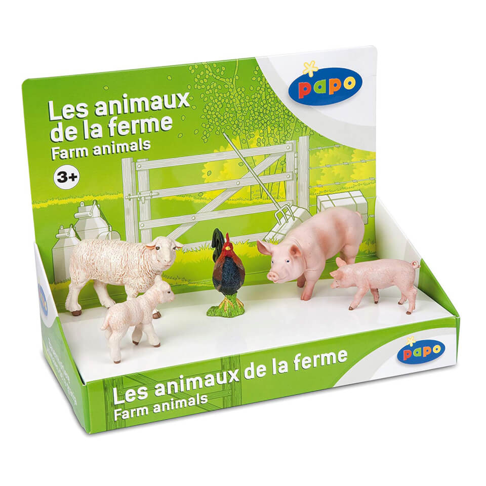 Papo Farmyard Friends: Display Box Farm Animals (5 Figurines)