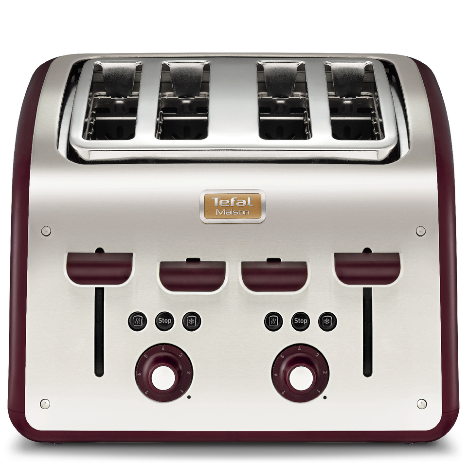tefal-maison-tt7705uk-stainless-steel-4-slice-toaster-pomegranate-red
