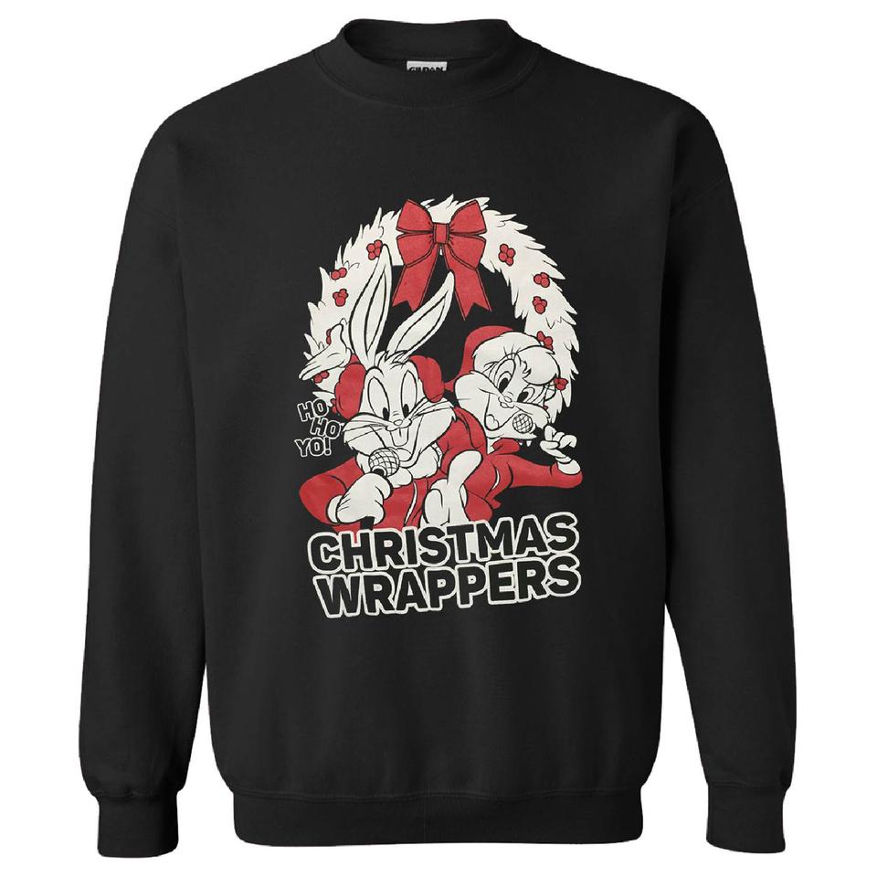 Warner Brothers Men's Bugs Bunny Weihnachts Sweatshirt – Schwarz XXL Schwarz