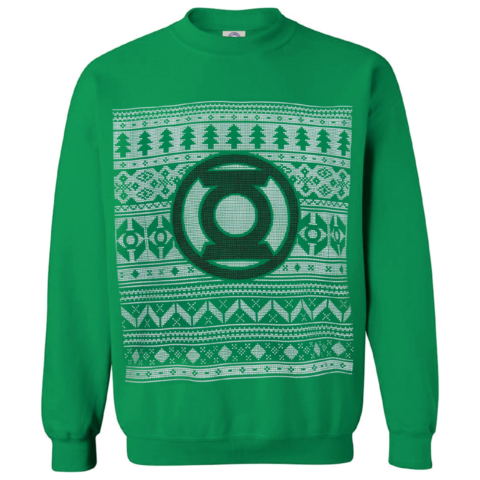 DC Comics Men's Green Lantern Fairisle Weihnachts Sweatshirt – Grün XXL Grün
