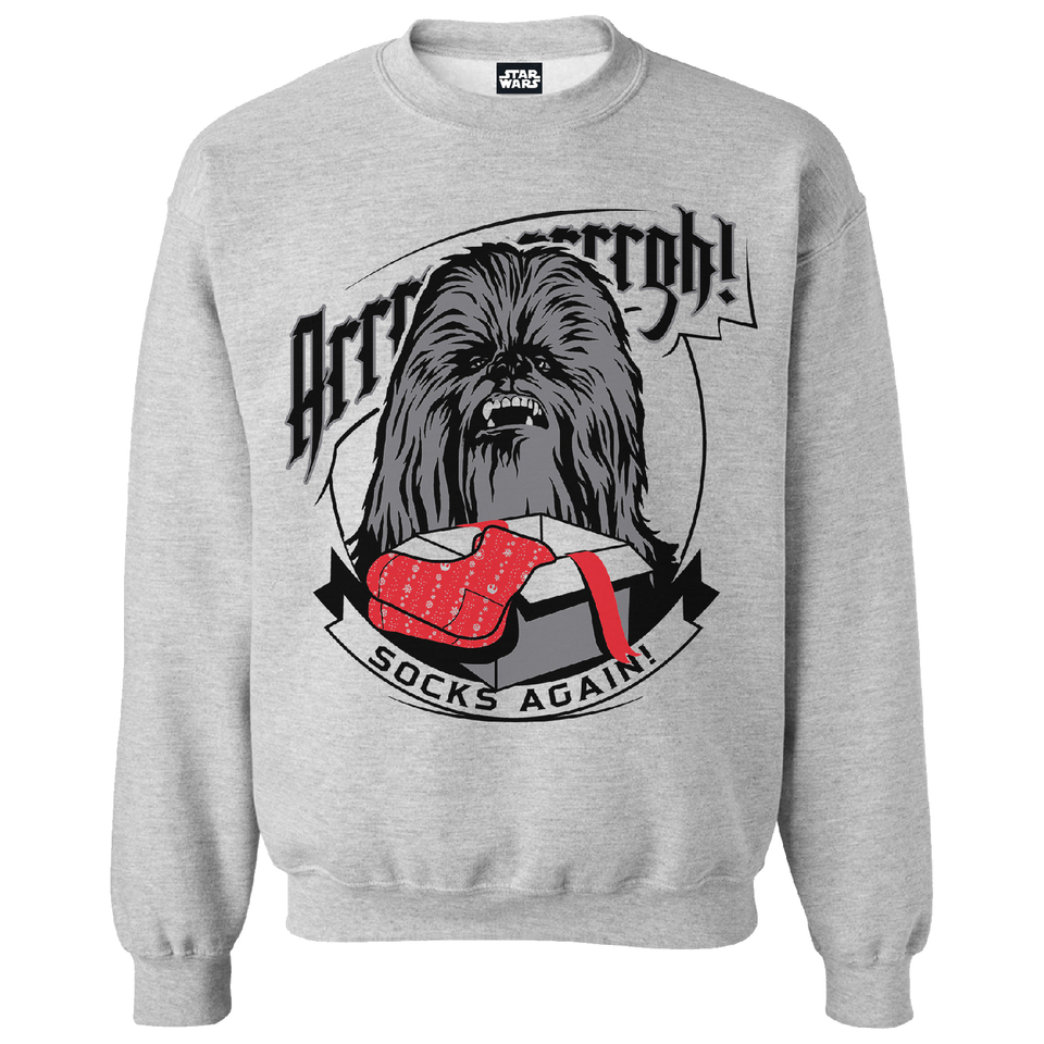 Star Wars Men's Chewbacca Socks Christmas Sweatshirt Grey Marl XXL Grau