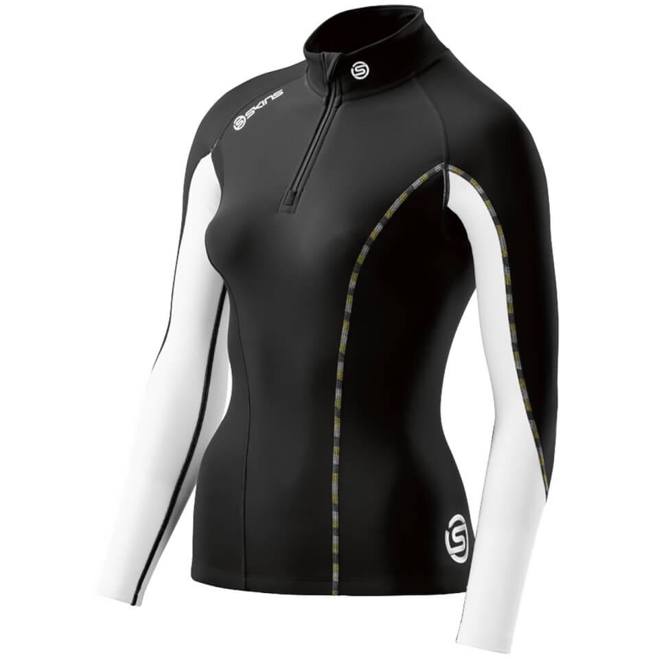 skins-dn-amic-women-thermal-long-sleeve-zip-mock-neck-top-black-cloud-xs-black-white