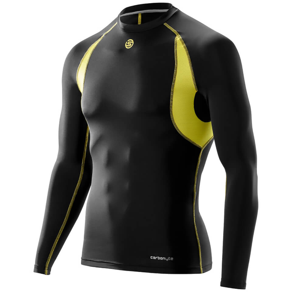 skins-carbonyte-men-long-sleeve-round-neck-baselayer-black-yellow-s